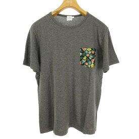 【中古】 サンスペル SUNSPEL ポケット Tシャツ カットソー トップス 花柄 切替 半袖 S グレー メンズ 【ベクトル 古着】 190502