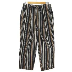 【中古】 アボンタージ A VONTADE Lax Easy Pants ストライプ ワイド イージー パンツ コットン リネン L ネイビー VDT-0405-PT メンズ 【ベクトル 古着】 190627