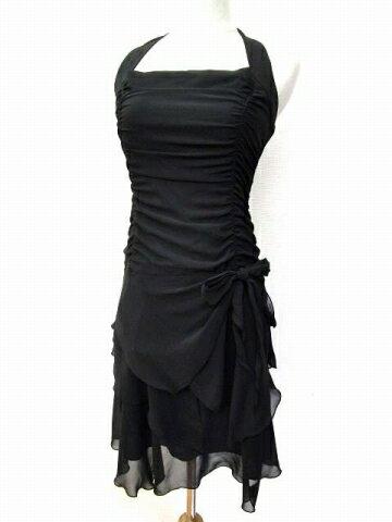 レストローズ L'EST ROSE ドレス ワンピース シフォン シャーリング ミニ ホルター 無地 2 黒 ブラック パーティー 結婚式 B90314 レディース 【中古】【ベクトル 古着】 180501 ブランド古着ベクトルプレミアム店