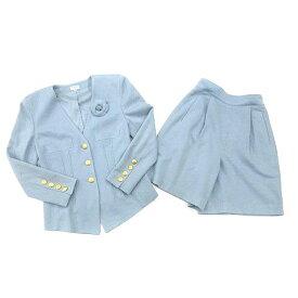 フォクシー FOXEY スーツ セットアップ ノーカラー パンツ ショート ウール 100% ブルー 40 レディース 【中古】【ベクトル 古着】 180629 ブランド古着ベクトルプレミアム店