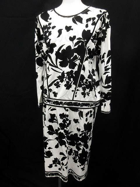 レオナール LEONARD セットアップ カットソー スカート 花柄 M 黒 白 /☆G レディース 【中古】【ベクトル 古着】 180823 ブランド古着ベクトルプレミアム店