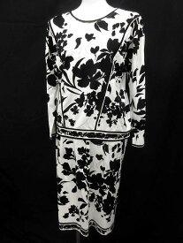 【中古】レオナール LEONARD セットアップ カットソー スカート 花柄 M 黒 白 /☆G レディース 【ベクトル 古着】 180823 ブランド古着ベクトルプレミアム店