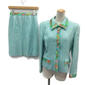 【中古】 レオナール LEONARD スカートスーツ セットアップ 上下 ジャケット スカート 総柄 9AR 63-90 水色 白 赤 紫 黄緑 ピンク /OG26 レディース 【ベクトル 古着】 190522