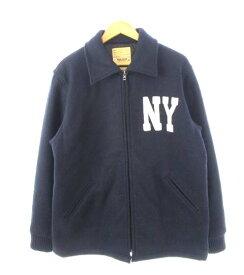 【中古】ヒューストン HOUSTON ジャケット ジップアップ NY フェルトワッペン 紺 ネイビー L 【ベクトル 古着】 200115 ベクトル