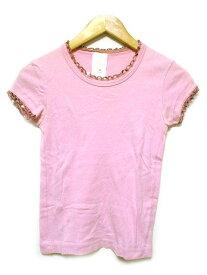 【中古】 アナスイ ANNA SUI Tシャツ カットソー 半袖 スパンコール ピンク S レディース 【ベクトル 古着】 190421