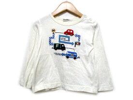 054aec632ed8a  中古  ファミリア Familiar Tシャツ カットソー 長袖 ワッペン 車 白系 100 キッズ  ベクトル