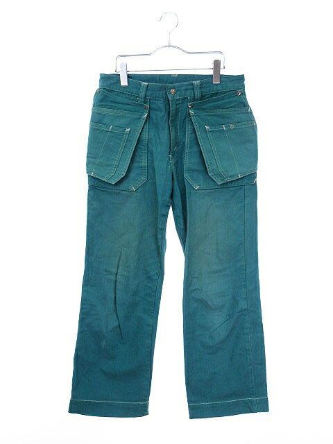ハリウッドランチマーケット HOLLYWOOD RANCH MARKET BLUE BLUE パンツ ストレート ヘリンボーン コットン 2 エメラルドグリーン 緑 bmy メンズ 【中古】【ベクトル 古着】 180214 ブランド古着ベクトルプレミアム店