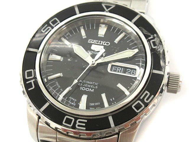 セイコー SEIKO 5sports ファイブスポーツ 腕時計 自動巻き シルバー 黒 7S36 /KH ● メンズ 【中古】【ベクトル 古着】 180604 ブランド古着ベクトルプレミアム店