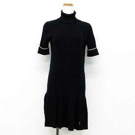 5d046ac8fea09 ジューシークチュール JUICY COUTURE ニット ワンピース ミニ丈 裾プリーツ ウール コットン混 ハイネック 半袖 黒