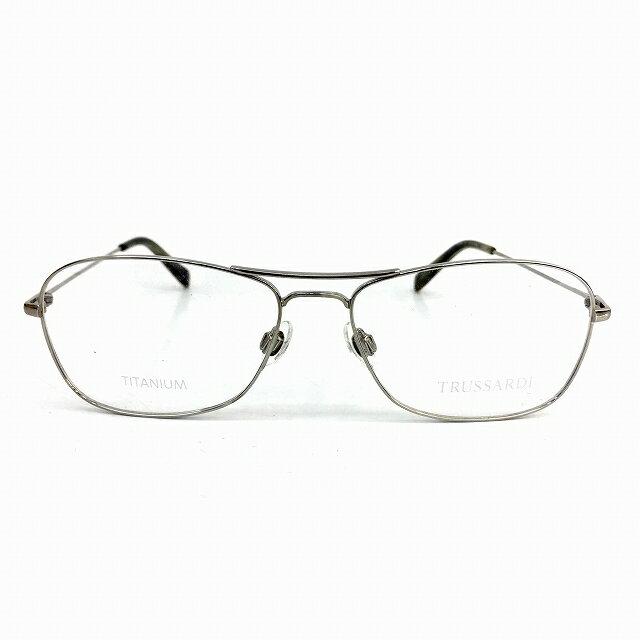 トラサルディ TRUSSARDI TR12738 眼鏡 チタン ウェリントン シルバー メンズ 【中古】【ベクトル 古着】 180807 ブランド古着ベクトルプレミアム店