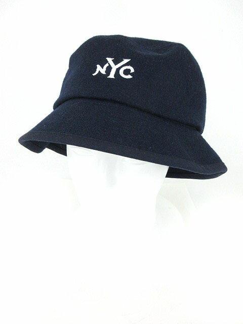 レイジブルー RAGEBLUE 帽子 バケットハット 英字 刺繍 ウール混 F 紺 ネイビー /yo メンズ 【中古】【ベクトル 古着】 180718 ブランド古着ベクトルプレミアム店