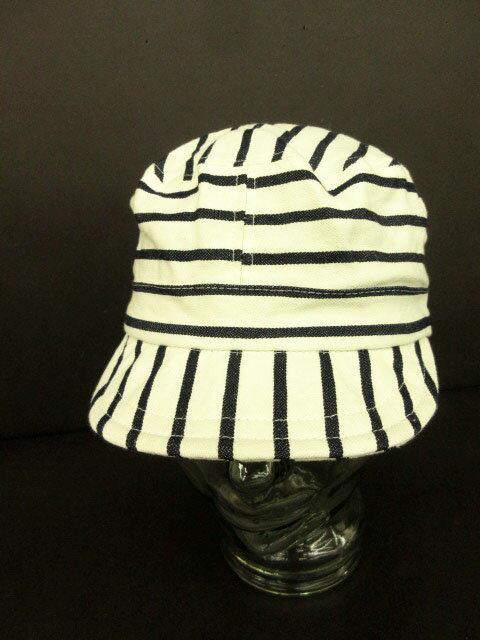 ウェアラバウツ WHEREABOUTS 帽子 ワークキャップ ストライプ 白 ホワイト 紺 ネイビー /yo メンズ 【中古】【ベクトル 古着】 180718 ブランド古着ベクトルプレミアム店