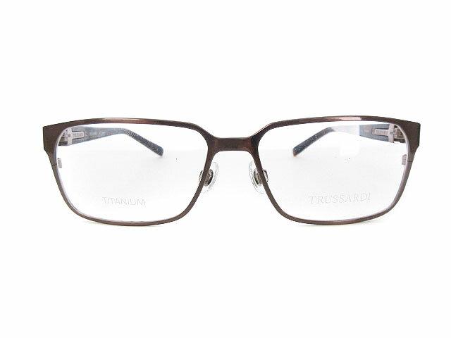 トラサルディ TRUSSARDI メガネ 眼鏡 フレーム チタン スクエア メタリック 55□16-135mm 4698 TR12736 55 BR 茶 ブラウン /yy メンズ 【中古】【ベクトル 古着】 180727 ブランド古着ベクトルプレミアム店