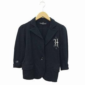 【中古】 ヒステリックグラマー HYSTERIC GLAMOUR ジャケット テーラード ショート 七分袖 F 黒 ブラック レディース 【ベクトル 古着】 190402