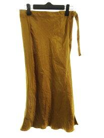 【中古】 アルアバイル allureville スカート フレア ミモレ丈 無地 1 金 ゴールド /MO レディース 【ベクトル 古着】 190618