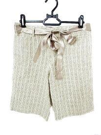 【中古】 ノーリーズ Nolley's パンツ ショート ハーフ ツイード リボン 麻混 リネン混 38 ベージュ /AKK45 レディース 【ベクトル 古着】 190529