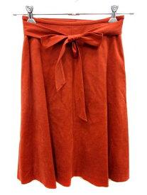 【中古】 ノーリーズ Nolley's スカート フレア ひざ丈 フェイクスエード 36 赤 レッド /YI レディース 【ベクトル 古着】 190513