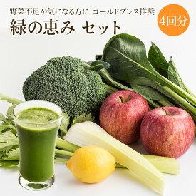コールドプレス推奨 緑の恵み 4回分セット【丸ごと】夏季限定クール便 野菜ジュース フルーツジュース