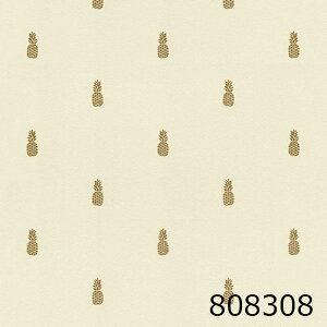 ドイツ製 輸入壁紙トロピカル パイナップル フルーツ 南国 アイボリー ゴールドフリース(不織布)素材1ロール 53cm×10m 808308★P10倍★
