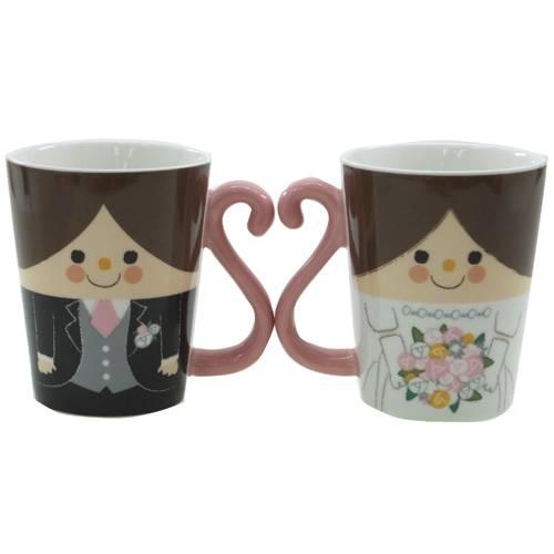 結婚祝い 贈り物 ペア ペア マグカップ 陶器製 マグカップ 2個セット ハッピーウェディング ペアグラス 結婚祝い 面白食器ギフト 【プレゼント】【結婚祝い】【あす楽】【のし利用可】