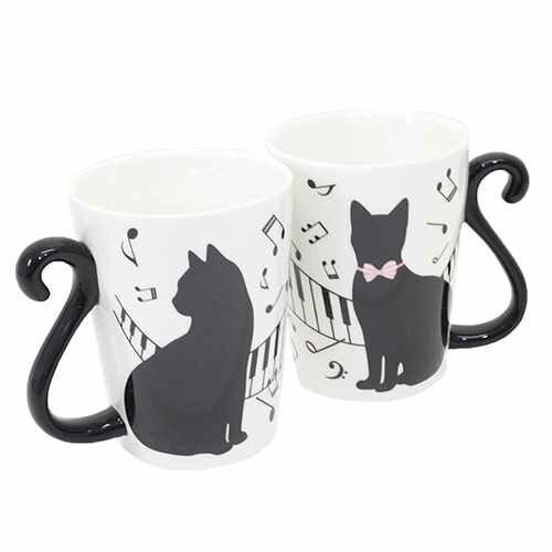 猫 雑貨 ペア マグカップ 2個セット マグカップ 黒猫 ピアノ アルタ かわいい 新婚祝い ギフト食器クロネコ 雑貨 【プレゼント】 【結婚祝い】【のし利用可】