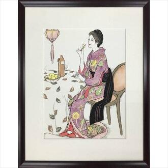有額装品和風竹久夢二青酒美工公司43*54cm礼物艺术架子室内装饰杂货邮购铃一般