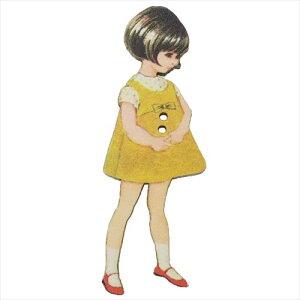 フランス製木製飾りボタン 手芸用品 アトリエボヌールドゥジュール 黄色いドレスの女の子 ハートアートコレクション ハンドクラフト おしゃれ 手作り 雑貨 メール便可 ベルコモン