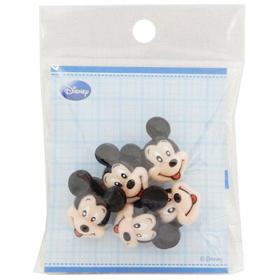 飾りミニボタン5個セット手芸用品ミッキーマウスフェイススマイルディズニーパイオニアハンドクラフトかわいい通販【メール便可】