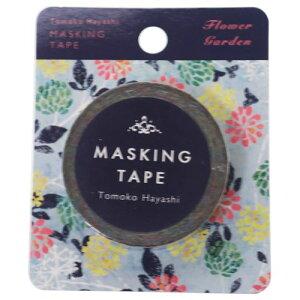 Tomoko Hayashi 15mm マステ マスキングテープ フラワーガーデン グリーン クローズピン ガーリーイラスト 手帳デコ メール便可 ベルコモン