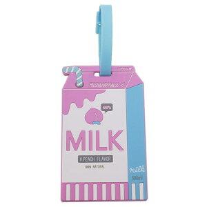 ラバーラゲッジタグ スーツケース ネームタグ ミルクパック クラックス 名札 ギフト 雑貨 ガーリー メール便可