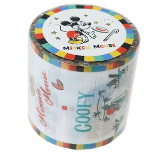 YOJOテープ 45mm デザイン 養生テープ ミッキー&フレンズ ホワイト ディズニー デルフィーノ ビッグ マステ 幅広梱包テープ
