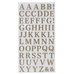 グリッター 文字 シール アルファベット 金 シール シート ゴールド クローズピン 手帳デコ DECOシール かわいい メール便可