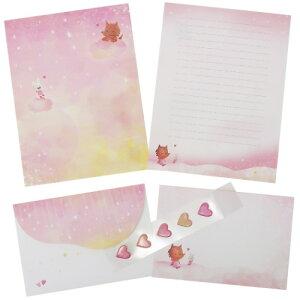 お手紙セット げんきくん レターセット 撫子色のやさしい雨 クローズピン 便箋&封筒&シール かわいい 絵本作家 メール便可