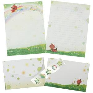 お手紙セット げんきくん レターセット 新緑の光 クローズピン 便箋&封筒&シール かわいい 絵本作家 メール便可