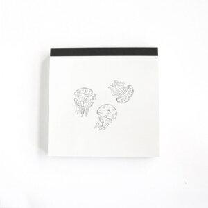 スクエア メモ クラゲ メモ帳 Animal Series アニマル グリーンフラッシュ 4柄100枚 プチギフト シンプルイラスト メール便可