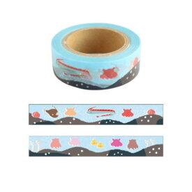 15mm マステ メンダコ マスキングテープ Animal Series アニマル グリーンフラッシュ DECOテープ プチギフト シンプルイラスト メール便可