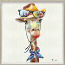 カウボーイ ジラフ 動物画 オイルペイントアート (Mサイズ) OP-18027 63x63cm 油絵 額付き キリン かわいいインテリア…