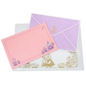 スライドジッパーケース入り 手紙セット レターセット ムーミン ピンク 北欧 APJ 便箋&封筒&ケース 贈り物 通販 メール便可