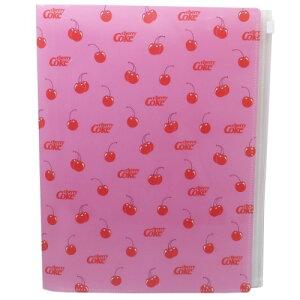 Cherry Coke ジップファスナー付 6ポケット A4 クリアファイル ポケットファイル チェリー カミオジャパン 新学期 準備 文具