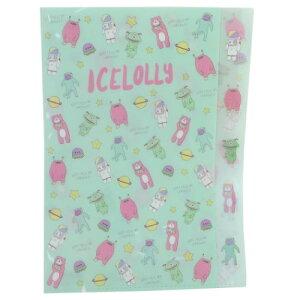 ポケットファイル アイスローリー ダイカット 5インデックス A4 クリアファイル エイリアン ICELOLLY サンスター文具 おしゃかわ