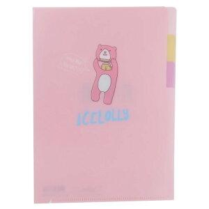 ポケットファイル アイスローリー 3ポケット A5 ミニクリアファイル ピンク ICELOLLY サンスター文具 おしゃかわ