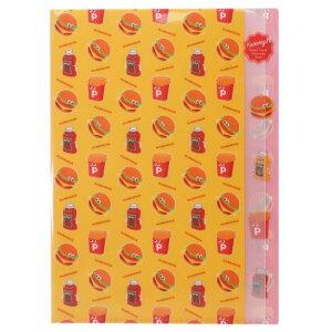 ハンバーガー ポケットファイル ダイカット 5インデックス A4 クリアファイル ファンシースタイルシリーズ サンスター文具 新学期準備雑貨 女の子向け