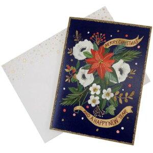 箔押 グリーティングカード シャロン モンゴメリ クリスマスカード SMO-1 APJ 封筒付きラメ印刷メッセージカード Xmas メール便可