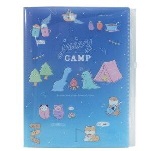 ジューシーなキャンプ A4 ファスナー付き 6ポケット ファイル クリアファイル シチュエーション かわいい 文房具 カミオジャパン