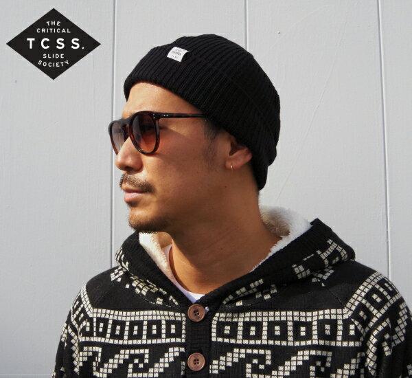 【TCSS(ティーシーエスエス)】コットンニットキャップ/ニット帽/ビーニー 【新作】【BLACK/ブラック/黒】