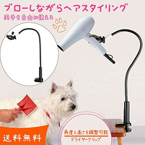 【クリップ式】ペット用品 猫犬用 ドライヤークリップ 360度回転可能 ドライヤー固定 洗面用品 洗面台 バス用品 ペット ヘアードライ