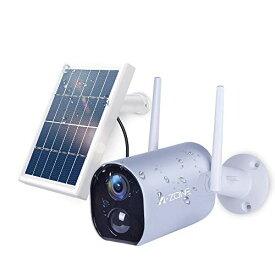 【ソーラーパネル付き電池式カメラ】A-ZONE防犯カメラ ワイヤレス 10400mAh 充電式 監視カメラ 200万画素 IP65防水 屋外対応 4DBアン