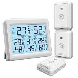 ORIA デジタル温湿度計 外気温度計 ワイヤレス 温度湿度計 室内 室外 三つセンサー 高精度 LCD大画面 バックライト機能付き 最高最低