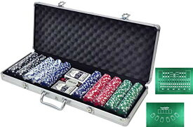 【LR.store】 カジノセット カジノゲーム 「アルミケース入り チップ500枚」 ポーカーセット 大人 遊び 本格派 カジノ トランプセッ