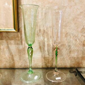 クラッシーヴェネチアンガラス ベネチアン グラス シャンパン グラス 贈り物 御祝 ギフト ピンク ライトグリーン 特別セット
